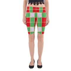 Christmas Fabric Textile Red Green Yoga Cropped Leggings