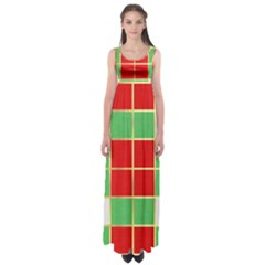 Christmas Fabric Textile Red Green Empire Waist Maxi Dress by Jojostore