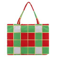 Christmas Fabric Textile Red Green Medium Zipper Tote Bag by Jojostore