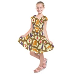 Face Cat Cute Purple Yellow Kids  Short Sleeve Dress