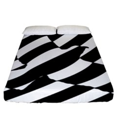 Flaying Bird Black White Fitted Sheet (king Size)