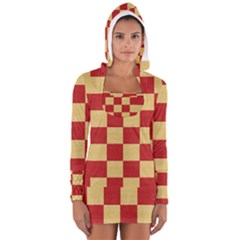 Fabric Geometric Red Gold Block Women s Long Sleeve Hooded T Shirt by Jojostore
