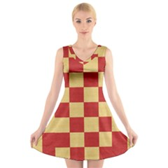 Fabric Geometric Red Gold Block V Neck Sleeveless Skater Dress by Jojostore