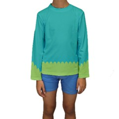 Green Blue Kids  Long Sleeve Swimwear