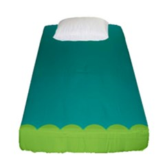 Green Blue Fitted Sheet (single Size)