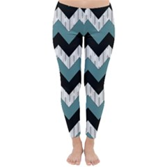 Green Black Pattern Chevron Classic Winter Leggings by Jojostore