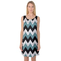Green Black Pattern Chevron Sleeveless Satin Nightdress