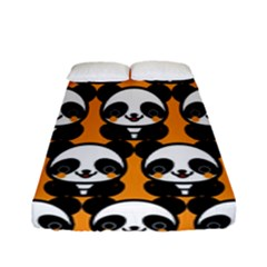 Halloween Night Cute Panda Orange Fitted Sheet (full/ Double Size) by Jojostore
