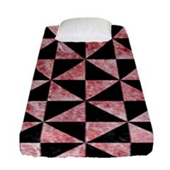 Triangle1 Black Marble & Red & White Marble Fitted Sheet (single Size) by trendistuff