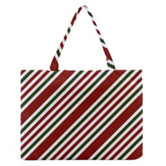 Line Christmas Stripes Medium Zipper Tote Bag