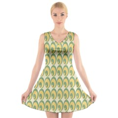 Pattern Circle Green Yellow V Neck Sleeveless Skater Dress