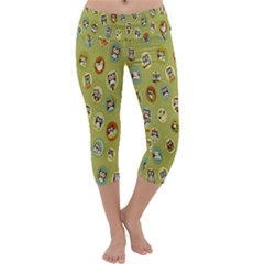 Owl Round Green Capri Yoga Leggings
