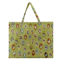 Owl Round Green Zipper Large Tote Bag by Jojostore