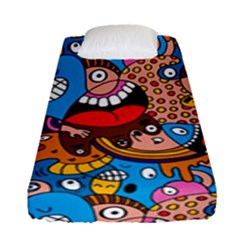 People Face Fun Cartoons Fitted Sheet (single Size) by Jojostore
