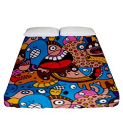 People Face Fun Cartoons Fitted Sheet (california King Size) by Jojostore