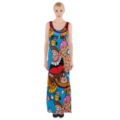 People Face Fun Cartoons Maxi Thigh Split Dress by Jojostore