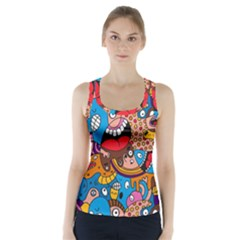 People Face Fun Cartoons Racer Back Sports Top