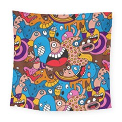 People Face Fun Cartoons Square Tapestry (large)
