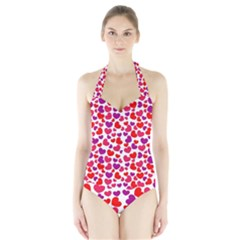 Love Pattern Wallpaper Halter Swimsuit by Jojostore