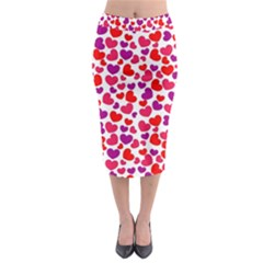 Love Pattern Wallpaper Midi Pencil Skirt