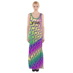 Line Colour Wiggles Maxi Thigh Split Dress by Jojostore