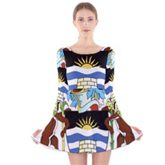 Coat Of Arms Of Antigua And Barbuda Long Sleeve Velvet Skater Dress by abbeyz71