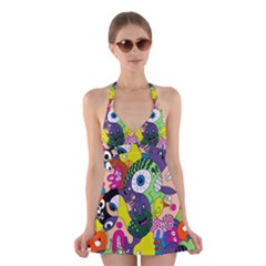 Another Weird Pattern Halter Swimsuit Dress