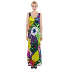 Another Weird Pattern Maxi Thigh Split Dress