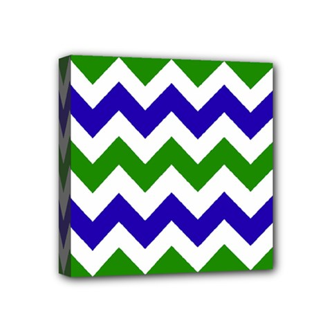 Blue And Green Chevron Mini Canvas 4  X 4
