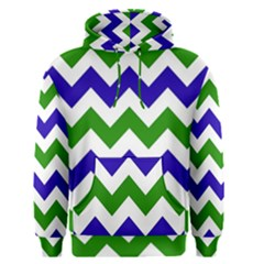 Blue And Green Chevron Men s Pullover Hoodie