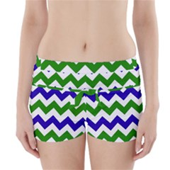 Blue And Green Chevron Boyleg Bikini Wrap Bottoms