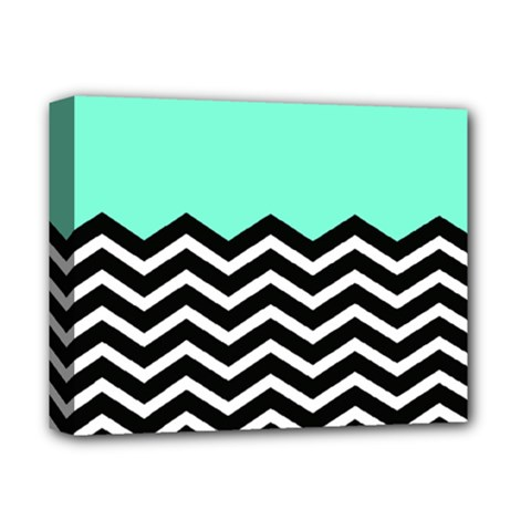 Blue Chevron Deluxe Canvas 14  X 11  by Jojostore