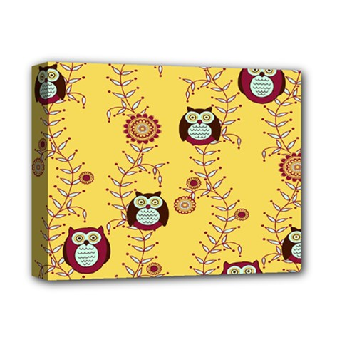 Cheery Owls Yellow Deluxe Canvas 14  X 11  by Jojostore