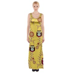 Cheery Owls Yellow Maxi Thigh Split Dress by Jojostore