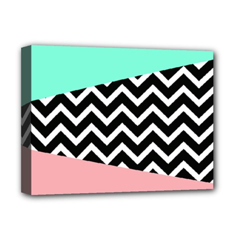 Chevron Green Black Pink Deluxe Canvas 16  X 12