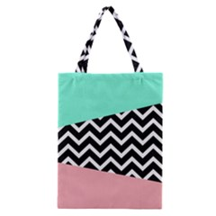 Chevron Green Black Pink Classic Tote Bag