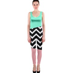 Chevron Green Black Pink Onepiece Catsuit