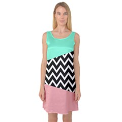 Chevron Green Black Pink Sleeveless Satin Nightdress