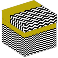 Colorblock Chevron Pattern Mustard Storage Stool 12
