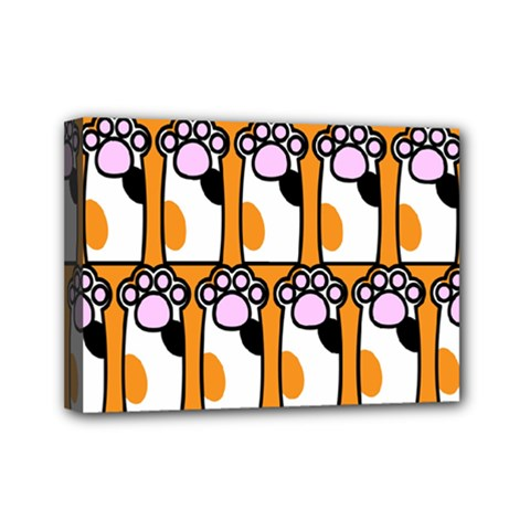 Cute Cat Hand Orange Mini Canvas 7  X 5  by Jojostore