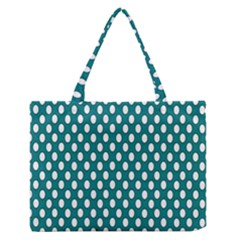 Circular Pattern Blue White Medium Zipper Tote Bag by Jojostore