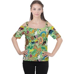 D Pattern Women s Cutout Shoulder Tee