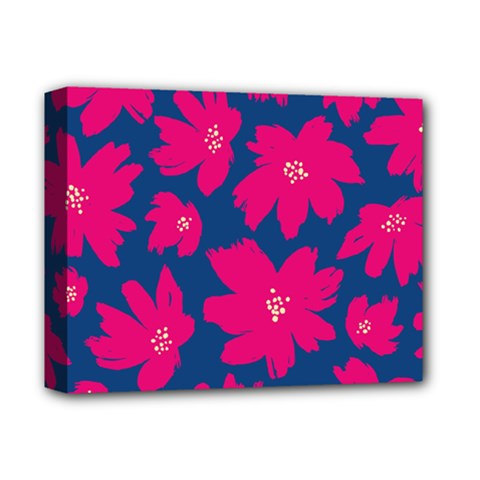 Flower Red Blue Deluxe Canvas 14  X 11