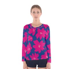 Flower Red Blue Women s Long Sleeve Tee by Jojostore