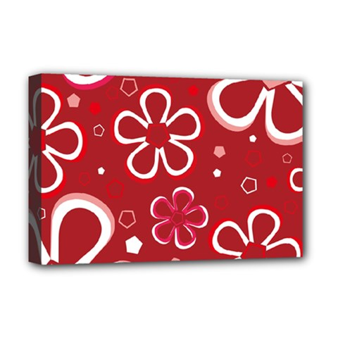 Flower Red Cute Deluxe Canvas 18  X 12