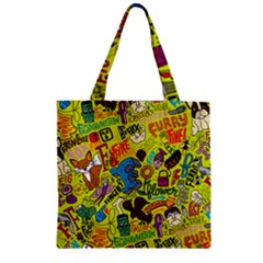 F Pattern Cartoons Zipper Grocery Tote Bag