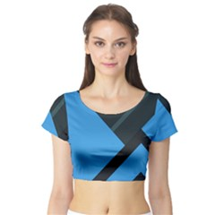 Lines Textur  Stripes Blue Short Sleeve Crop Top (tight Fit) by Jojostore