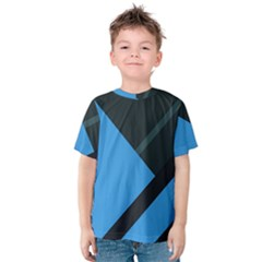 Lines Textur  Stripes Blue Kids  Cotton Tee by Jojostore