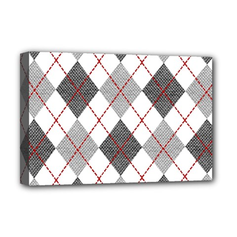 Fabric Texture Argyle Design Grey Deluxe Canvas 18  X 12   by Jojostore