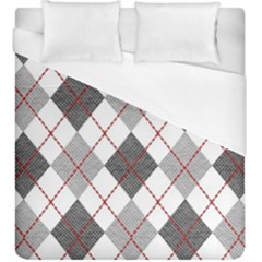 Fabric Texture Argyle Design Grey Duvet Cover (king Size)